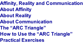 "Affinity, Reality and Communication About Affinity  About Reality About Communication The ""ARC Triangle"" How to Use the ""ARC Triangle"" Practical Exercises"